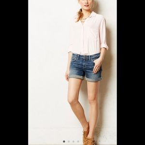 Anthropologie stet fit roll up jean shorts